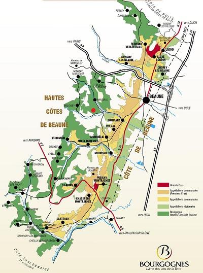 Carte de la Côte de Beaune