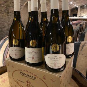 Bouteilles de vin blanc Beaune Pommard
